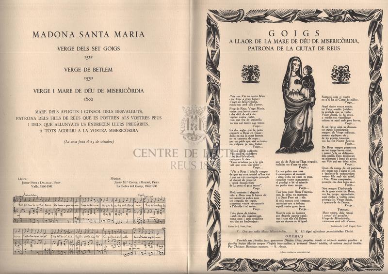Goigs a llaor de la Mare de Déu de Misericòrdia, patrona de la ciutat de Reus