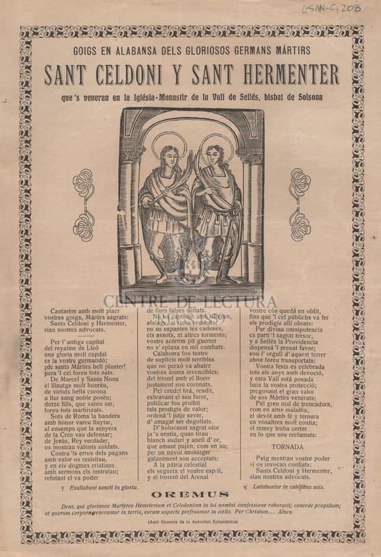 Goigs en alabansa dels gloriosos germans mártirs Sant Celdoni y Sant Hermenter que's veneran en la Iglésia-Monastir de la Vall de Sellés, bisbat de Solsona