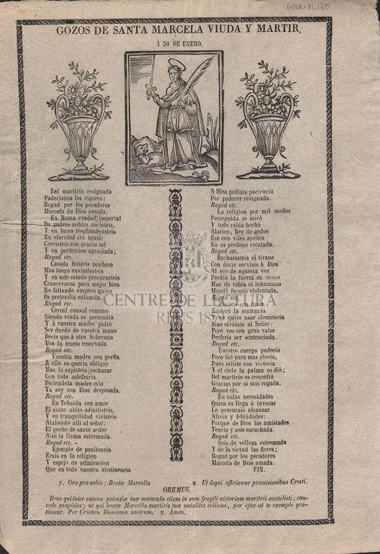Gozos de Santa Marcela viuda y mártir. Á 30 de enero.