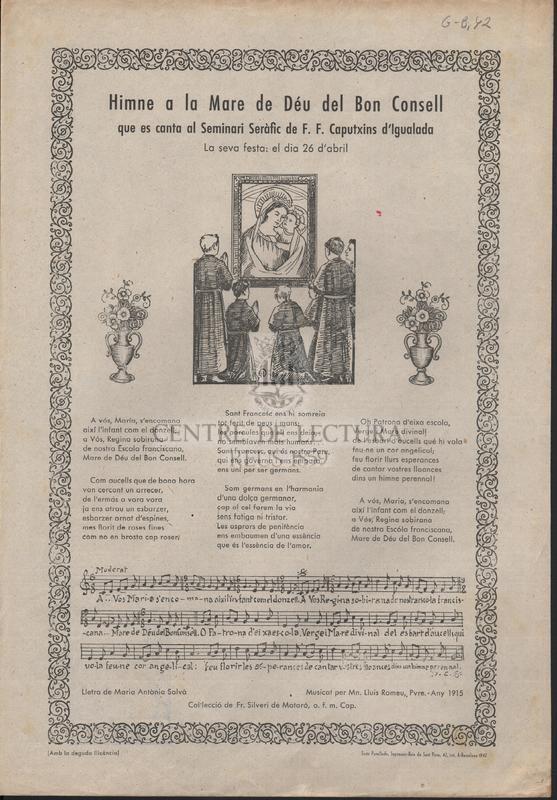 Himne a la Mare de Déu del Bon Consell que es canta al Seminari Seràfic de F. F. Caputxins d'Igualada.