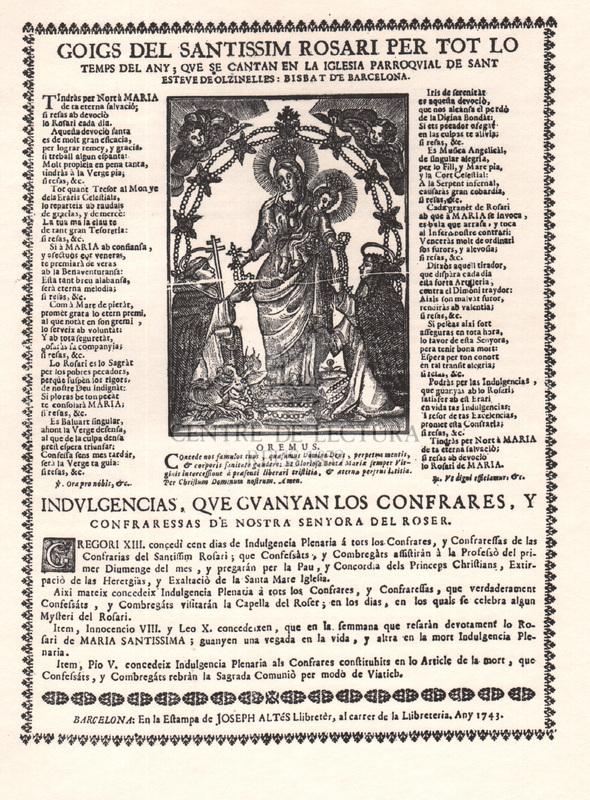Goigs dels santissim Rosari per tot lo temps del any ; que se cantan en la iglesia parroquial de Sant Esteve de Olzinelles: Bisbat de Barcelona. Goigs dedicats a santa Teresa de Jesus Jornet i Ibars