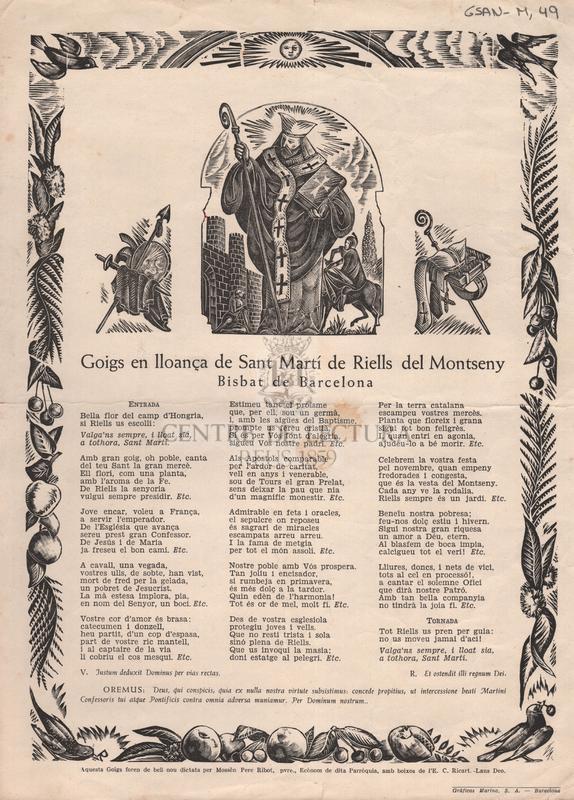 Goigs en lloança de Sant Magí de Riells del Montseny. Bisbat de Barcelona