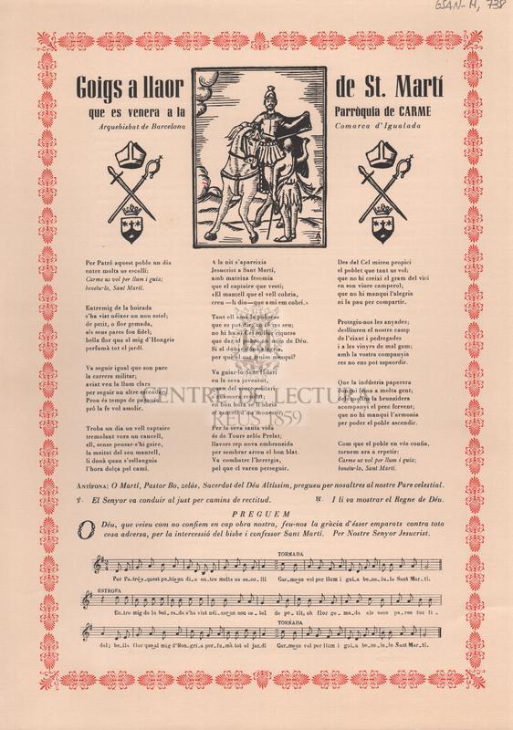Goigs a llaor de St. Martí que es venera a la Parròquia de Carme. Arquebisbat de Barcelona. Comarca d'Igualada