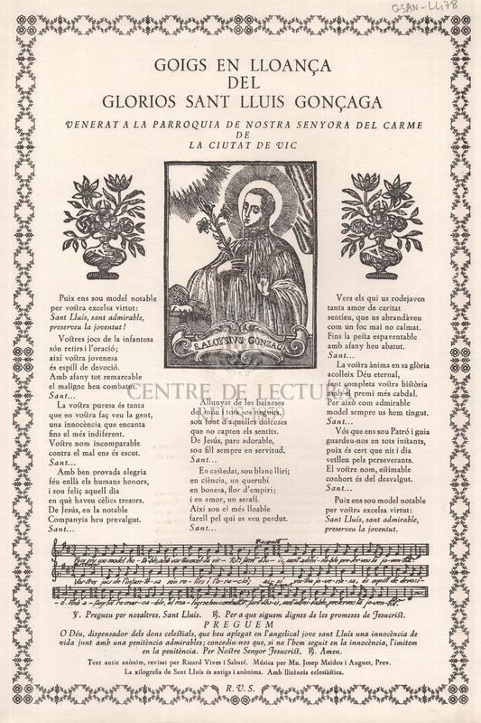 Goigs en lloança del gloriós sant Lluís Gonçaga, venerat a la parròquia de Nostra Senyora del Carme de la ciutat de Vic