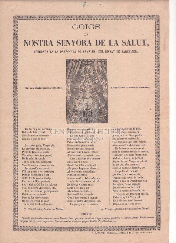 Goigs de Nostra Senyora de la Salut, venerada en la parroquia de Samalús, del Bisbat de Barcelona