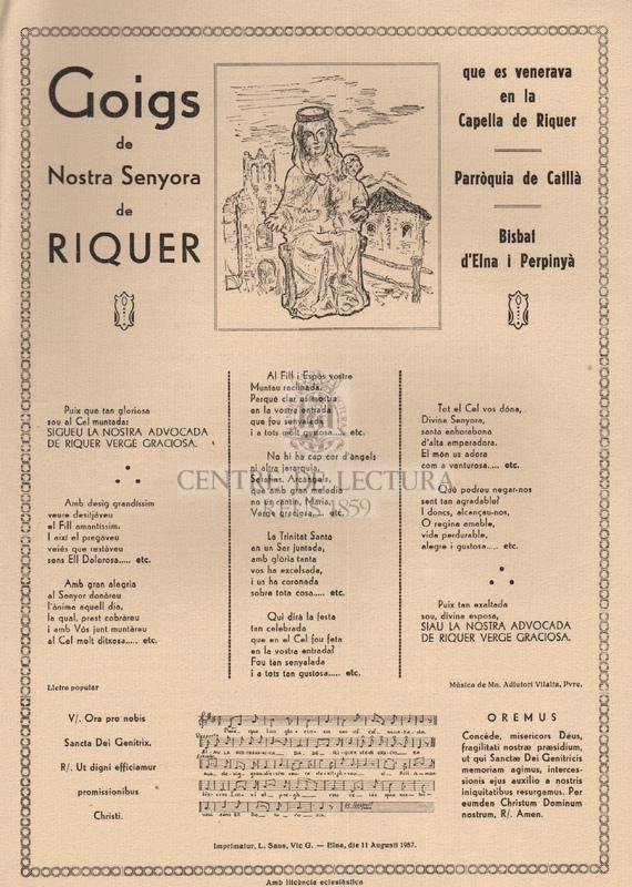 Goigs de Nostra Senyora de Riquer que es venerava en la Capella de Riquer, Parròquia de Catllà, Bisbat d'Elna i Perpinyà.