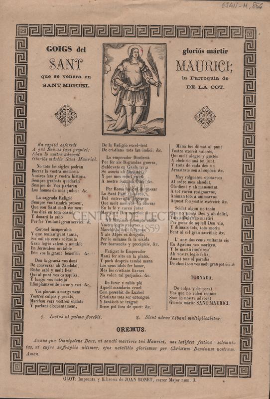 Goigs del gloriós mártir Sant Maurici; que se venera en la Parroquia de Sant Miguel de la Cot