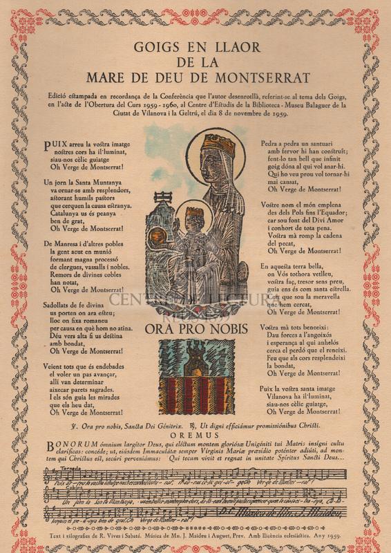 Goigs en llaor de la Mare de Déu de Montserrat.