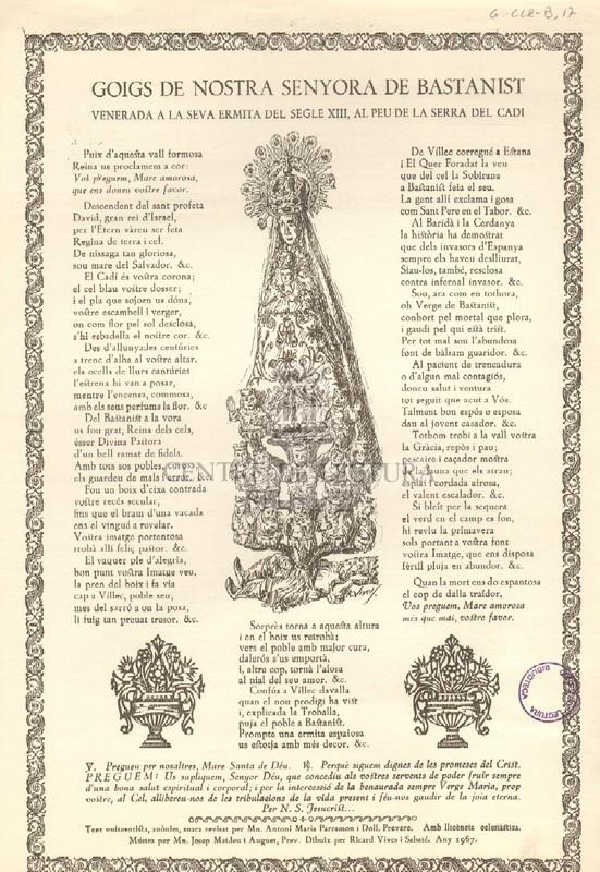 Goigs de Nostra Senyora de Bastanist venerada a la seva ermita del segle XIII, al peu de la Serra del Cadí