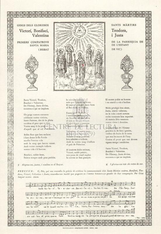 Goigs dels gloriosos sants màrtirs Victorí, Bonifaci, Teodora, Valentina i Justa Primers compatrons de la parroquia de Santa Maria de l'Estany (Bisbat de Vic)