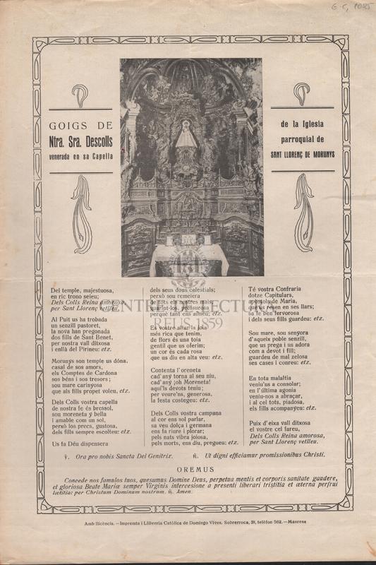 Goigs de Ntra. Sra. Descolls venerada en sa Capella de la Iglesia parroquial de sant Llorenç de Morunys.