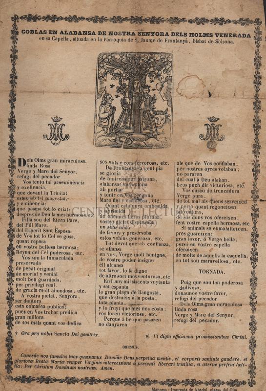 Coblas en alabansa de Nostra Senyora dels Holms venerada en sa Capella, situada en la Parroquia de S. Jaume de Frontanyá, Bisbat de Solsona.