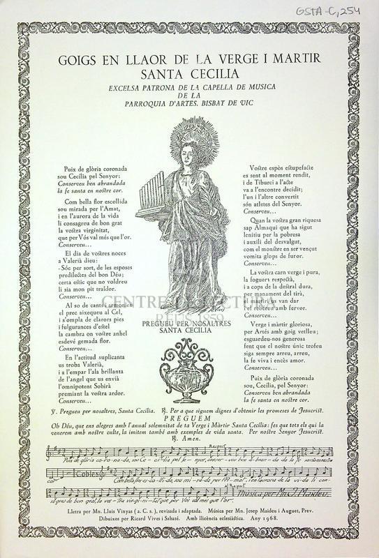 Goigs en llaor de la verge i martir Santa Cecelia excelsa patrona de la capella de música de la Parroquia d'Artes de Vic
