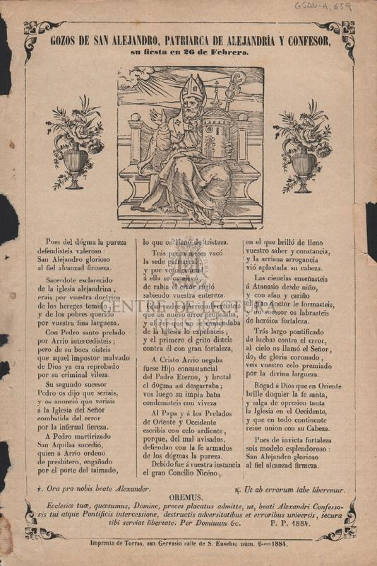 Gozos de San Alejandro, Patriarca de Alejandría y confesor, su fiesta en 26 de Febrero