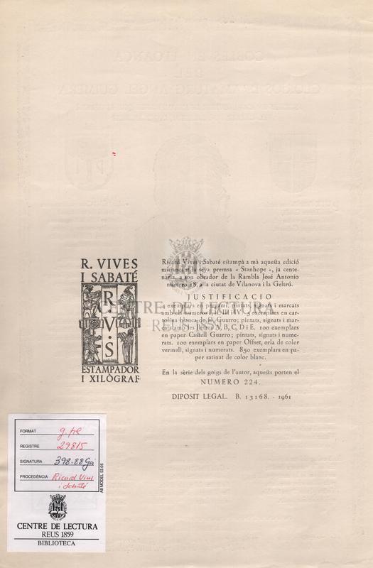 Cobles en lloança del glorios dramaturg Angel Guimera escrits en l'avinentesa de l'homenatge que li ofrenà el carrer de Petritxol, l'any MCMLXI.