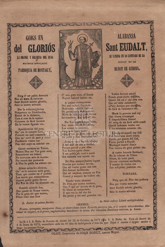 Goigs en alabansa del gloriós Sant Eudalt, la imatge y reliquia del qual se venera en lo santuari de la mateixa invocació situat en la Parroquia de Montagut, Bisbat de Gerona