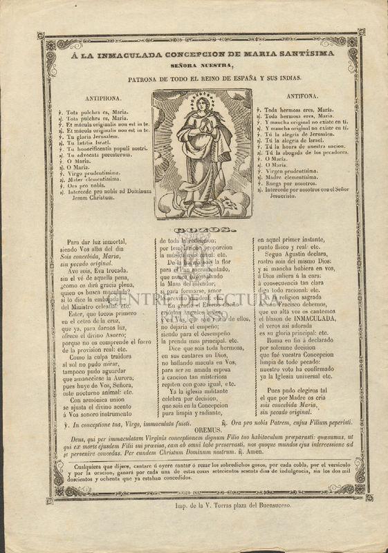 A la Inmaculada Concepción de Maria Santísima señora nuestra, patrona de todo el reino de España y sus indias