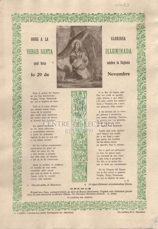Goigs a la gloriosa Verge Santa Iluminada qual festa celebra la Esglesia lo 29 de Novembre