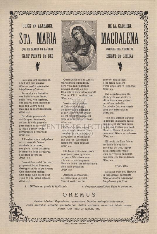 Goigs en alabança de la gloriosa Sta. Maria Magdalena que es canten en la seva capella del terme de Sant Privat de Bas, bisbat de Girona