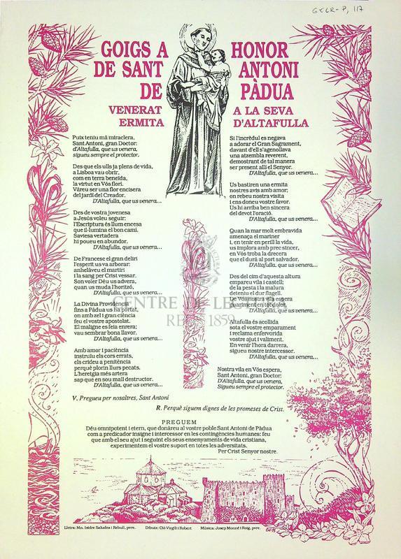Goigs a honor de Sant Antoni de Pàdua venerat a la seva ermita d'Altafulla