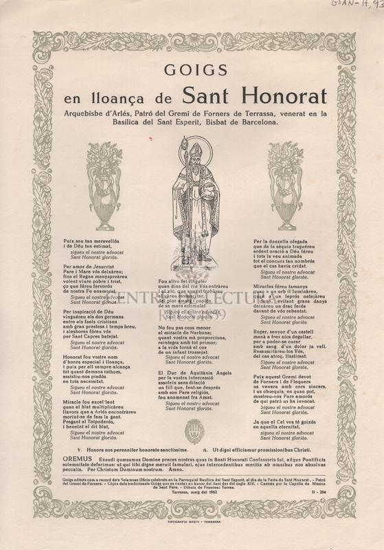 Goigs en lloança de Sant Honorat. Arquebisbe d'Arlés, Patró del Gremi de Forners de Terrassa, venerat en la Basílica del Sant Esperit, Bisbat de Barcelona