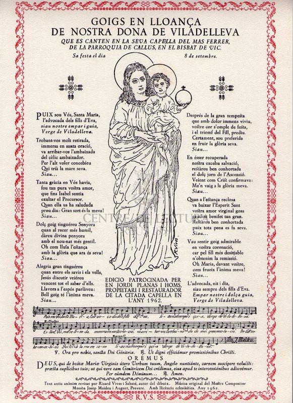 Goigs en lloança de Nostra dona de Viladelleva que es canten en la seva Capella del Mas Ferrer, de la Parroquia de Callús, en el Bisbat de Vic. Sa festa el dia 8 de setembre
