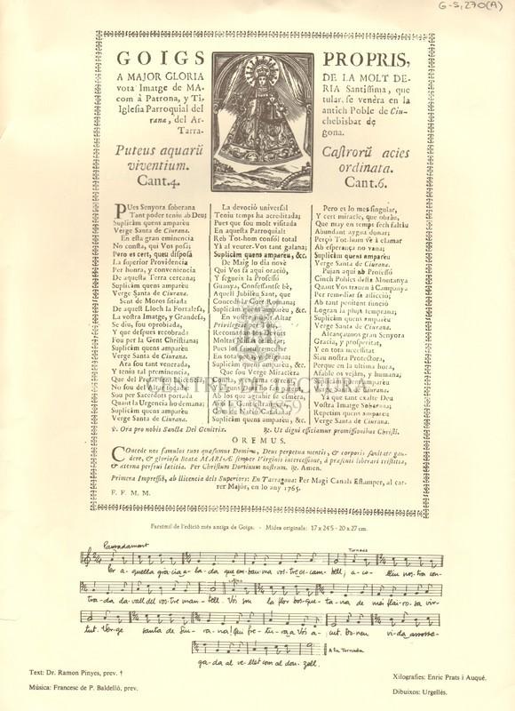 Goigs propis, a major gloria de la molt devota Imatge de Maria Santissima, que com a Patrona, y Titular, se venèra en la Iglesia Parroquial del antic Poble de Ciurana, del Archebisbat de Tarragona