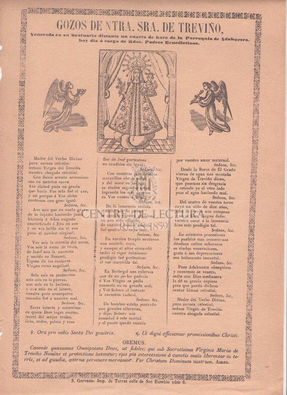 Gozos de Ntra. Sra. de Treviño, Venerada en su Santuario distante en cuarto de hora de la Parroquia de Adahuesca, hoy dia á cargo de Rdos. Padres Benedictinos
