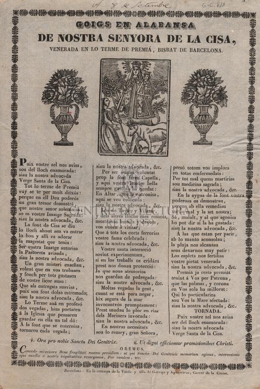 Goigs en alabansa de Nostra Senyora de la Cisa, venerada en lo terme de Premiá, Bisbat de Barcelona