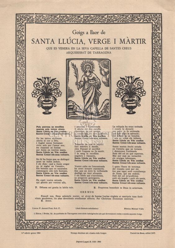 Goigs a llaor de santa Llúcia, verge i màrtir que es venera en la seva capella de Santes Creus, arquebisbat de Tarragona