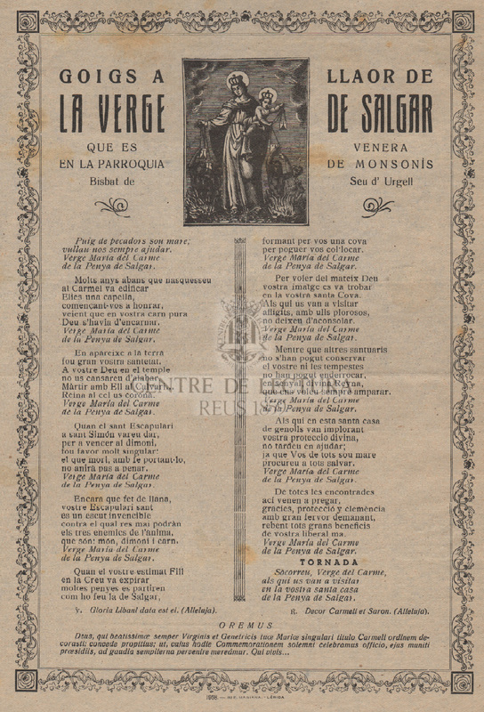 Goigs a llaor de la Verge de Salgar que es venera en la parroquia de Monsonís Bisbat de la Seu d'Urgell