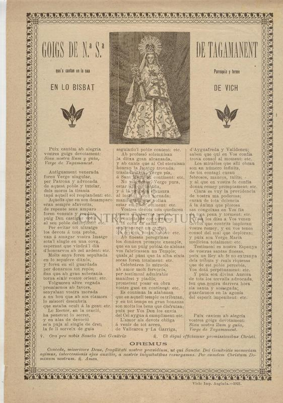 Goigs de Nª. Sª. de Tagamanent que's cantan en la sua Parroquia y terme en lo Bisbat de Vich