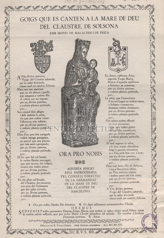 Goigs que es canten a la Mare de Deu del Claustre, de Solsona amb motiu de malalties i de pesta.