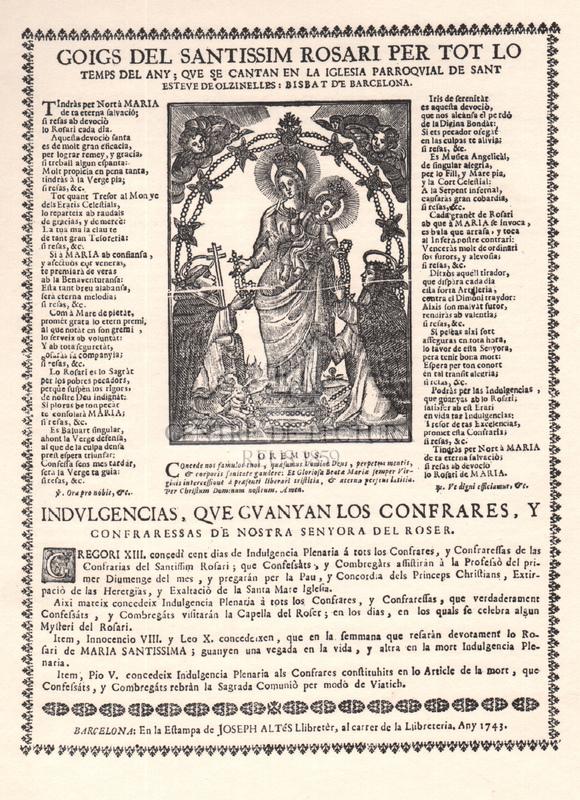 Goigs dels Santíssim Rosari per tot lo temps del any que se cantan en la iglesia parroquial de Sant Esteve  de Olzinelles: Bisbat de Barcelona.