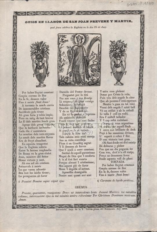 Goigs en llahor de san Joan prevere y martir, qual festa celebra la Esglesia en lo dia 23 de Juny