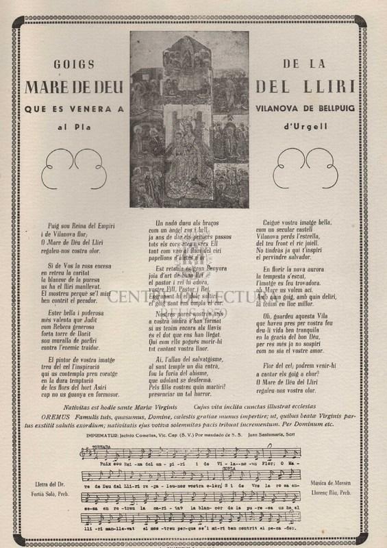 Goigs de la Mare de Déu de Lliri que es venera a Vilanova de Bellpuig al Pla d'Urgell.