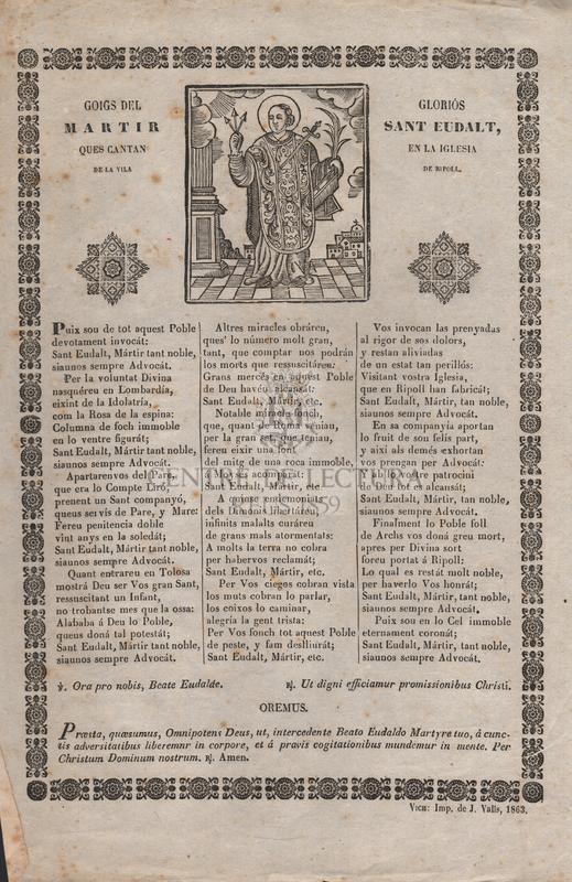 Goigs del gloriós martir Sant Eudalt, ques cantan en la iglesia de la vila de Ripoll