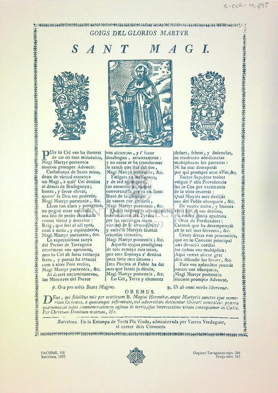 Goigs del glorios martyr Sant Magi