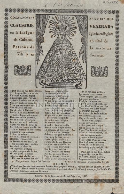Goigs á Nostra Senyora del Claustro, venerada en la insigne Iglesia collegiata de Guissona ab titol de patrona de la mateixa Vila y sa Comarca