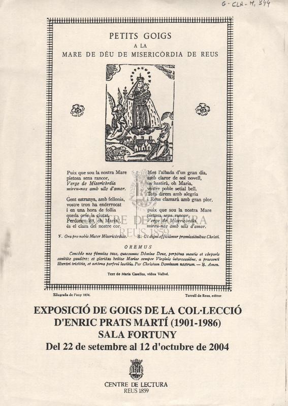 Petits goigs a la Mare de Déu de Misericòrdia de Reus.