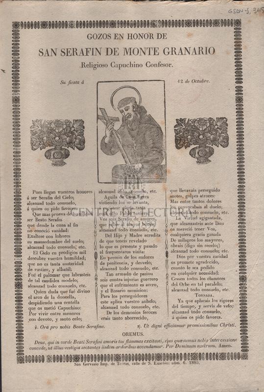 Gozos en honor de San Serafin de Monte Granario religiosos capuchino confesor.