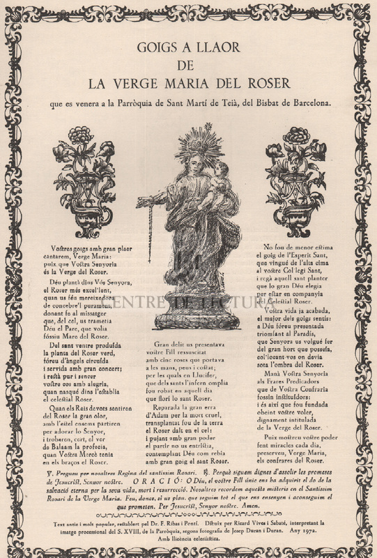 Goigs a llaor de la Verge Maria del Roser que es venera a la Parròquia de Sant Martí de Teià, del Bisbat de Barcelona