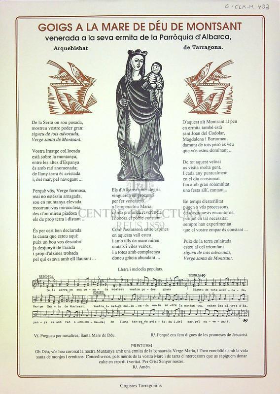 Goigs a la Mare de Déu de Montsant venerada a la seva ermita de la Parròquia d'Albarca, arquebisbat de Tarragona