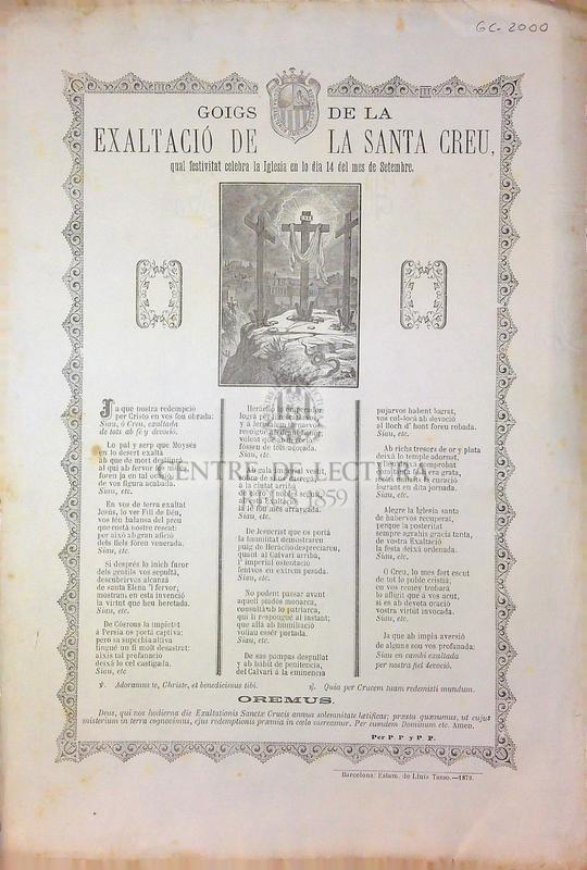 Goigs de la exaltació de la Santa Creu, qual festivitat celebra en lo dia 14 del mes de Setembre