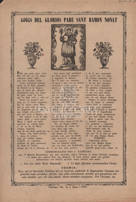 Goigs del gloriós Pare Sant Ramon Nonat