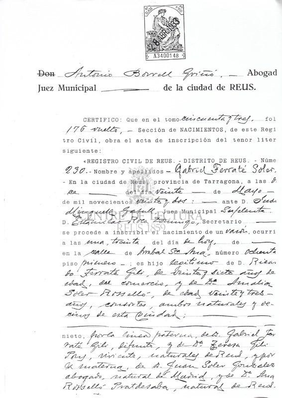 Certificat de naixement al registre civil de Reus de Gabriel Ferrater