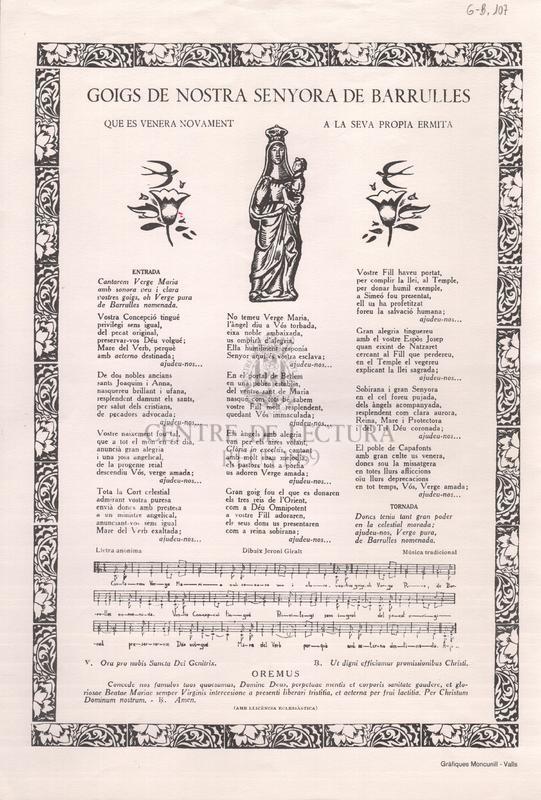 Goigs de Nostra Senyora de Barrulles que es venera novament a la seva pròpia ermita