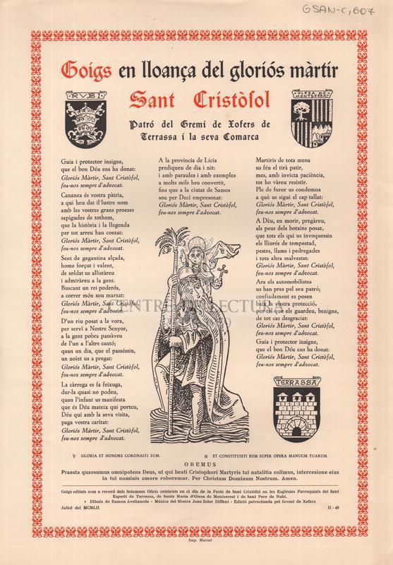 Goigs en lloança del gloriós màrtir Sant Cristòfol patró del Gremi de Xofers de Terrassa i a la seva Comarca