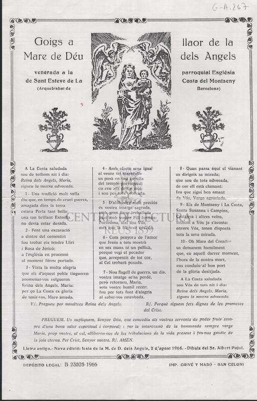 Goigs de la Mare de Déu dels Angels Venerada a la Parròquia de La Costa del Montseny (Barcelona)