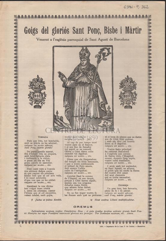 Goigs del gloriós Sant Ponç, Bisbe i Màrtir Venerat a l'església parroquial de Sant Agustí de Barcelona